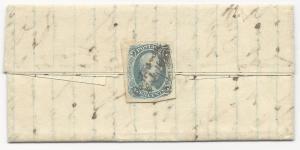 CSA Scott #9 on Folded Letter Cartersville, VA July 16 1863 Double Transfer Cert