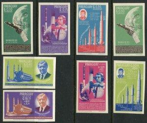 PARAGUAY Sc#836-843 IMPERF 1964 US Space Achievements Cpl OG Mint LH