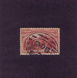 SC# 242 USED $2 COLUMBIAN, 1893, DOUBLE OVAL CANCEL, 2018 PSAG CERT