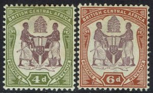 BRITISH CENTRAL AFRICA 1901 ARMS 4D AND 6D