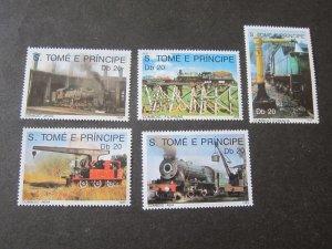 St. Thomas & Prince 1980 Sc 884-8 Train set MNH