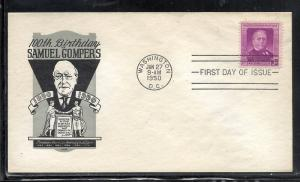 US #988 Gompers Ioor cachet addressed fdc
