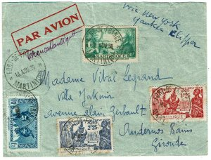 Martinique 1939 Fort de France cancels on clipper cover to France, Scott 178