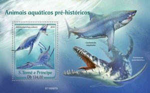 Z08 IMPERF ST190507b Sao Tome and Principe 2019 Prehistoric water animals MNH
