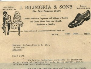 FIJI KGVI Cover ADVERT *Illustrated Air Letter* LEATHER SHOES 1955 QEII EP52