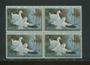 1970 United States Federal Duck Stamp #RW37 Mint Never Hinged F/VF OG Block of 4