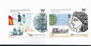 ARGENTINA 2002 FAEF PHILATELIC ASSOCAITION 50TH ANNIVERSARY SET OF 2 VALUES MNH