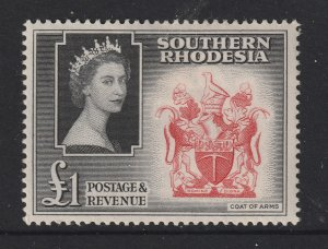 Southern Rhodesia a MH 1 pound QE2 from 1953