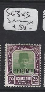 MALAYA  TRENGGANU   (PP1605B)  SULTAN 25C  SG 38S SPECIMEN  MOG