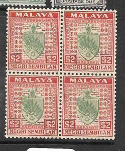 MALAYA NEGRI SEMBILAN  (P0105BB) ARMS $2.00  SG 38  BL OF 4  MNH