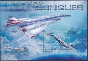 Burundi MNH S/S Concorde Supersonic Jet 2012