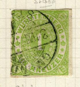 GERMANY; WURTTEMBERG 1869 early Rouletted issue fine used 1k. value,