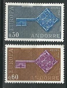 Andorra (French) 182-3 Y&T 188-9 MHR VF 1968 SCV $16.50*