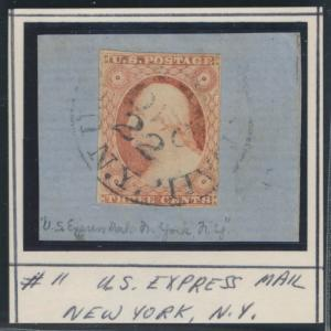#11 F-VF USED ON A PIECE WITH EXPRESS MAIL CANCEL CV $135.00 BR527