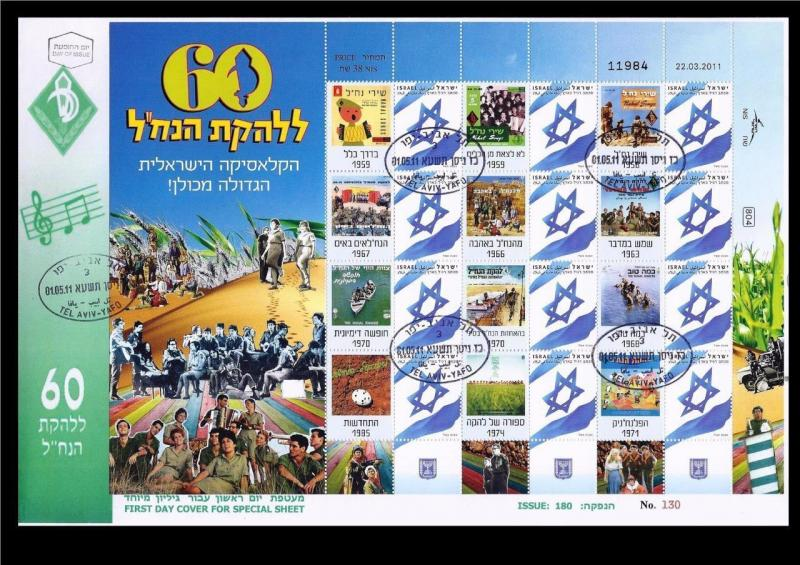 ISRAEL STAMPS 2011 IDF NAHAL TROOPS ENTERTAINMENT GROUP SHEET ON FDC