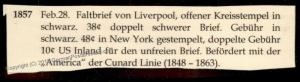 England Britain 1857 New York Cunard SS America Transatlantic Stampless Co 77676