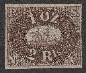 PERU : 1857 Pacific Steam Navigation Co 2R brown, unissued. Only 320 printed.