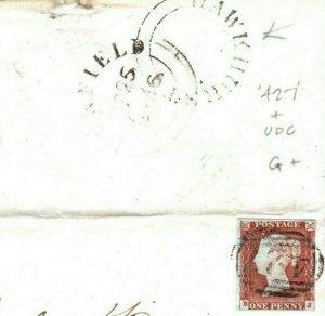 GB RARE NUMERAL Penny Red Cover *427* & HAWKHURST UDC 1846 Kent {samwells}N169