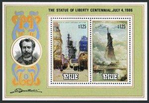 Niue 519 ab sheet,MNH.Michel Bl.102. Statue of Liberty-100,1986.Dargaud,Morand.