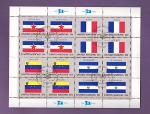 United Nations New York #336a cancelled 1980 sheet flags France Venezuela