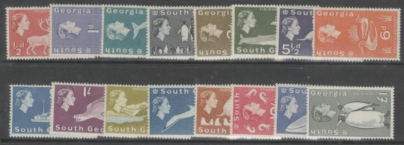 SOUTH GEORGIA SG1/16 1963-9 DEFINITIVE SET MTD MINT