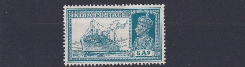 INDIA  1937     SG  256       6A  TURQUOISE GREEN      MH