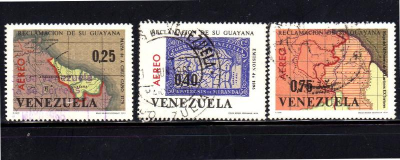VENEZUELA #C905-C907  1965  MAPS    F-VF USED