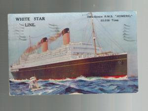 1922 England RMS Homeric Color Postcard Ship Paqueboat Cover to USA