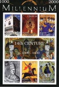 Turkmenistan 1999 Pope Boniface IX-Aix la Chapelle-Millennium 14th.Cent.IMPERF.
