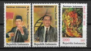 1997 Indonesia 1703-5 Indonesian Artists C/S of 3 mint