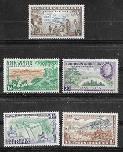 So. Rhodesia # 74-78  Rhodes Centennial (5)  VF Unused VLH
