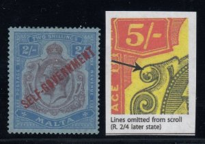 Malta, SG 120c, MLH (some pencil on gum), Lines Omitted from Scroll variety