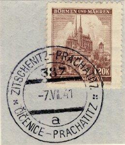 BÖHMEN u. MAHREN 1941 ZITSCHENITZ-PRACHATITZ TPO n°387a bilingual CDS on Mi.41