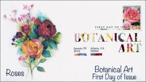 2016, Botanical Art, FDC, Digital Color Postmark, Roses, 16-027