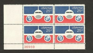C89 Plane, Globes And Flag Plate Block Mint/nh FREE SHIPPING