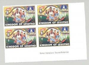 Lesotho #443 Running, Olympics 1v Imperf Format Inscription Block of 4