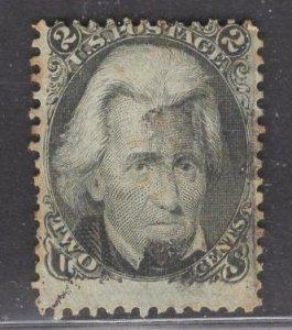 US Stamp #73 2c Black Jackson  USED SCV $55.00