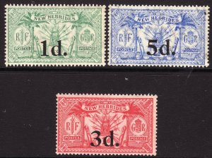 1924 British New Hebrides O/P surcharge complete set MNH Sc# 38 39 40
