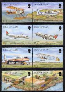 Isle of Man 1997 Manx Aircraft set of 8 (4 x se-tenant pa...