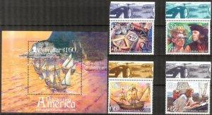 Gibraltar 2006 C.  Columbus Sailing Ships set of 4 + S/S MNH**