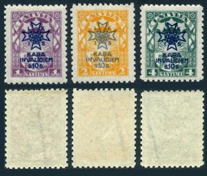 Latvia B21-B23,MNH.Michel 100-102. Latvian War Invalids Society,1923.