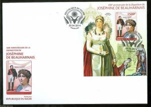 NIGER 2014 200th MEMORIAL ANNIVERSARY OF JOSEPHINE BEAUHARNAIS W/NAPOLEON S/S FD