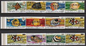 PENRHYN IS 1978 Fish definitive set optd OHMS fine used....................55206