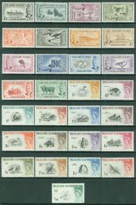 FALKLAND ISLANDS : 1952. SG #172-85, 193-207 Both Complete sets. VF MNH Cat £350