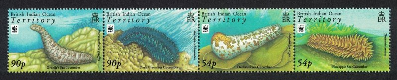 BIOT WWF Sea Cucumbers Strip of 4v 2008 MNH SG#392-395 MI#470-473