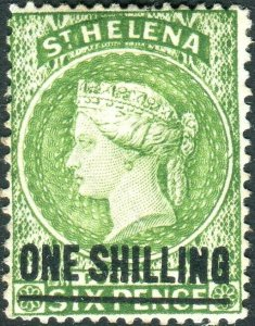 ST HELENA-1894 1/- Yellow-Green.  A lightly mounted mint example Sg 45