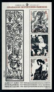 [100075] Uruguay 1978 Art Paintings Durer Rubens Goya Souvenir Sheet MNH
