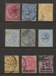 Straits Settlements #? QV MVLH & FU 9 Single Stamps CV$?