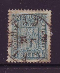 Norway Sc 8 1863 4 sk Coat of Arms Lion stamp used