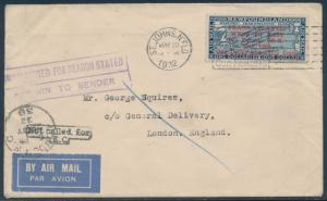 DOX MAY 20,1932 FLIGHT COVER ST. JOHNS TO LONDON F-VF HW3554